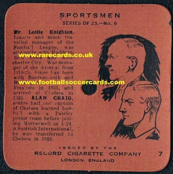 1934 Knighton & Craig Man C Brum Asrenal etc mini-record cigarette card